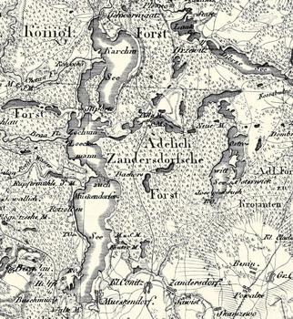 Fragment mapy Schroettera z 1802 roku z zaznaczoną nieistniejącą dziś osadą Piła Młyn (niem. Pilla Mühle)