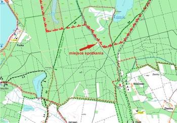 Mapka z zaznaczonym miejscem spotkania